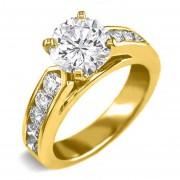Anillo De Compromiso Con Laterales L37 De Oro Amarillo De 14Kt Diamante Central De .30ct