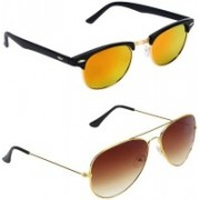 Royalmede Aviator, Clubmaster Sunglasses(Multicolor, Brown)
