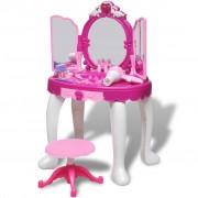vidaXL 3-Mirror Kids' Playroom Standing Toy Vanity Table with Light/Sound