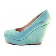 Pantofi dama turcoaz cu platforma - metalizati