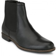 Delize Black Leather Boots For Men