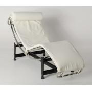 Replica Le Corbusier lounge LC4 with white Italian leather