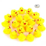 20pcs/set CiCy Mini Yellow Rubber Bath Ducks for Child ,1.5inch Rubber Duck Bath Toy Baby Shower Birthday Party Favors