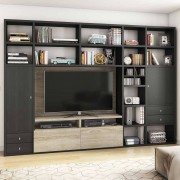 Fernseher Regalwand in Eiche Schwarz Braun Eiche Sonoma
