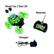 Gifts Collection Ben 10 Stunt Car with Remote Control Music Lights Cross-Over Fun to Play (Assorted Colour)