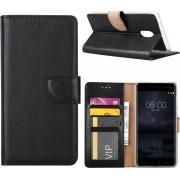 Nokia 6 Hoesje Zwart met opbergvakjes