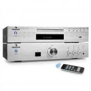 """Auna """"Elegance Tower Bluetooth"""", сребърен, 2.0 HiFi комплект, MP3-CD плейър + усилвател 600 W (PL-8983-8978)"""