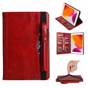 Multi-slot Wallet Retro PU Leather Shell Case with [Pen Pouch] for iPad 10.2 (2019) - Red