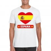 Bellatio Decorations Spaanse vlag in hartje shirt wit heren