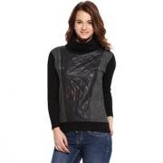 Campus Sutra Grey Black Solid Long Sleeve Cotton Sweatshirt For Women
