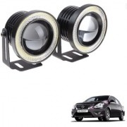 Auto Addict 3.5 High Power Led Projector Fog Light Cob with White Angel Eye Ring 15W Set of 2 For Nissan Sunny