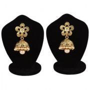 Jewels Gehna Party Wear Wedding Alloy Unique Traditional Stone Fancy Golden Jhumki Earring Set For Women Girls