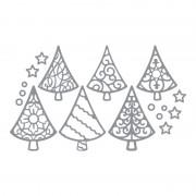Rayher hobby materialen Zilveren kerstboom stickers