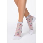 Pink virágmintás zokni áttetsző anyagból lekerekitett sarokkal