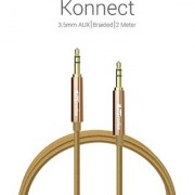 Portronics premium Konnect 3.5mm AUX/Braided /2 Meter Audio cable-Golden
