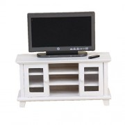 Iraintech 1:12 Dollhouse Miniature Tv With White Cabinet Bench Furniture For Dolls House Living Room