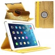 Capa Rotativa de Couro para iPad Air - Crocodilo - Dourado