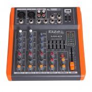 Mixer DJ Ibiza, 4 canale cu egalizator, efecte, USB