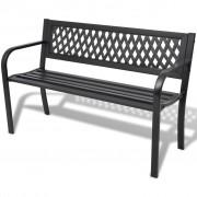 vidaXL Vrtna klupa 118 cm čelik crna