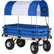Millside Industries Classic Wood Wagon With Blue And White Canopy