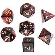 borte Polyhedral 7-Die Dice Set, Red and Black D&D Set Game Dices for Dungeons Dragons Table Games