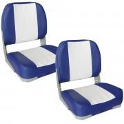Комплект от 2 седалки за капитанско място на моторна лодка/яхта, Синя/Бяла