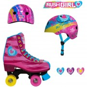 Patines Rush Girl Cuatro ruedas mas Casco ABS