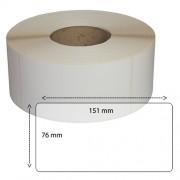Etiketter på rulle, självhäftande, högblanka för bläck, 76*151mm, 1000 st