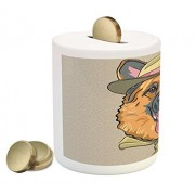 German Shepherd Coin Box Bank by Lunarable, Traveler Animal Character in Green Hat and Neckerchief Humor Illustration, Printed Ceramic Coin Bank Money Box for Cash Saving, Multicolor
