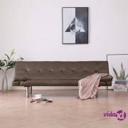 vidaXL Kauč na razvlačenje od umjetne kože s dva jastuka smeđi