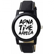 JAY UMIYA SALES Apna Time Aayega Black Color Belt Leather Strap Analogue Watches for Men Women