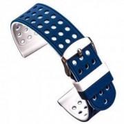Curea silicon cu doua fete compatibila cu Smartwatch 24mm Albastru/Alb