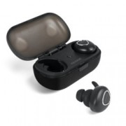 """Слушалки Microlab Trekker 200, тип """"тапи"""", безжични (Bluetooth 4.2), микрофон, 2 часа време за работа, кутия(зарядно/външна батерия), черни"""