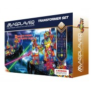 Joc de constructie magnetic Magplayer, 208 piese, vesel colorate, diferite forme geometrice