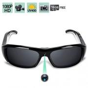 WISE UP 1080P HD Gafas de Sol Cámara Oculta Vídeo Grabación Espía Los Anteojos más la Función de Toma de Fotos, Gafas Polarizadas UV400, Tarjeta de Memoria de 16GB Incorporada