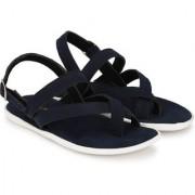 Big Fox Men's Leather Suede Sandals Navy Blue