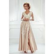 Sukienka na wesele z długim rękawem -jasno złota suknia wieczorowa Luna
