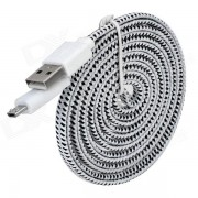 Micro USB Braid Cable de carga para Samsung Galaxy S3 i9300 / Mini i8190 + Mas - Blanco + Negro (2m)