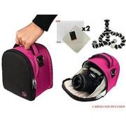 Nylon SLR Bag - Magenta Pink For Sony Cyber-Shot DSC-H300 DSC-H400 H200 RX10 HX400 HX30 HX300 DSLR Camera + Screen Protector + Screen Protector + Mini Tripod