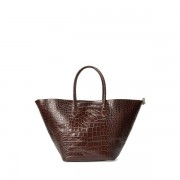 Polo Ralph Lauren Embossed Large Bellport Tote - Chocolate - Size: One Size
