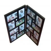 Suport decorativ, tip carte, din lemn, pentru 16 fotografii