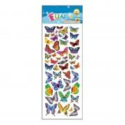 Merkloos 40x stuks Kinder stickers gekleurde vlinders