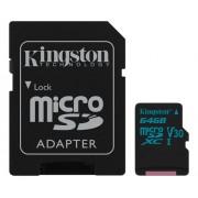 Kingston microSDXC Canvas Go 90R/45W + SD Adapter, 64GB