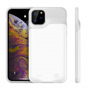 6500mAh Rechargeable Backup Extended Battery Charger Case for iPhone 11 Pro Max 6.5 inch - White / Grey