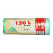 Szemeteszsák, zárószalagos, 120 l, 10 db, ALUFIX, zöld (KHT173)