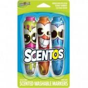 Set 3 markere cu miros Bubble Gum-Inghetata-Afine Scentos