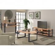 vidaXL Set de mobilier living, 3 piese, lemn masiv salcâm