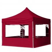 tendapro.it Gazebo Pieghevole ALU 3x3m PVC-beschichtetes Poliestere rosso Padiglione Richiudibile Automatico