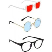 INSH Round, Retro Square, Cat-eye Sunglasses(Red, Blue, Clear)