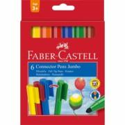 Carioca 6 culori Connector Jumbo Faber-Castell